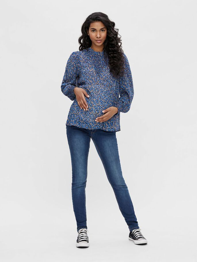 PCMTILLE LONG SLEEVED MATERNITY TOP, Star Sapphire, large
