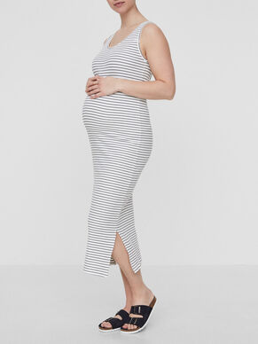 STRIPED MATERNITY DRESS, LONG