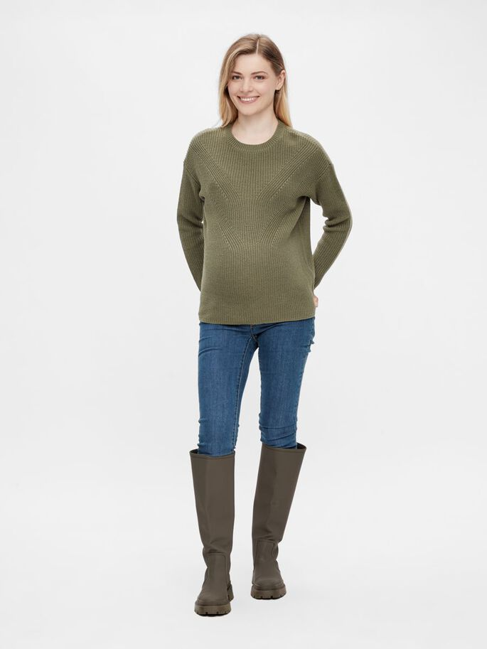 PCMKARIE MATERNITY PULLOVER, Deep Lichen Green, large