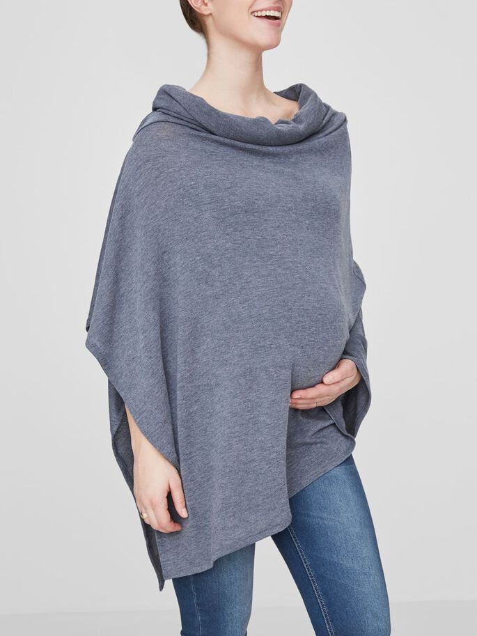 GESTRICKTER PONCHO, Ombre Blue, large