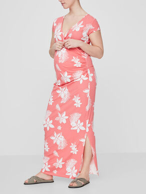 FLOWER PRINTED MATERNITY DRESS, LONG