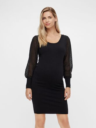 EMBROIDERY SLEEVED MATERNITY DRESS
