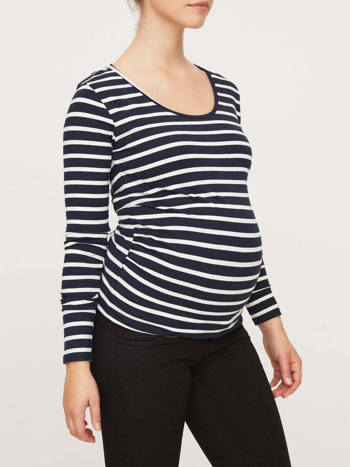 JERSEY MATERNITY TOP, LONG SLEEVED, Navy Blazer, large