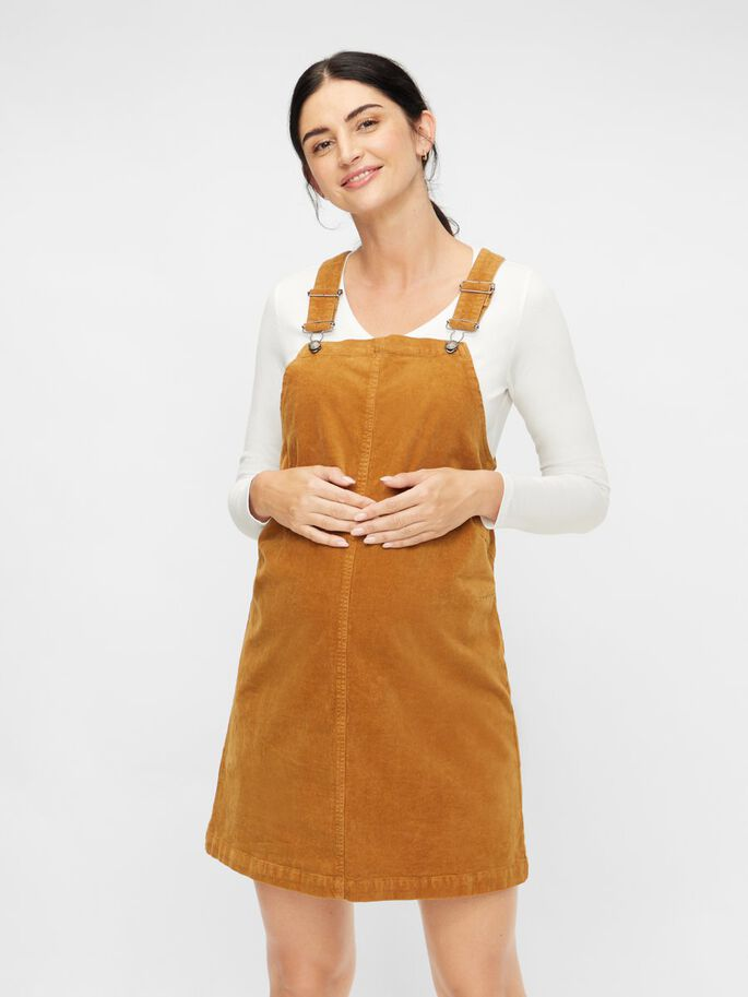 CORDUROY PINAFORE MATERNITY DRESS, Rubber, large