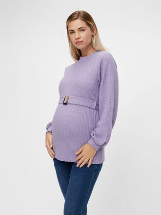 BELTED KNIT MATERNITY PULLOVER