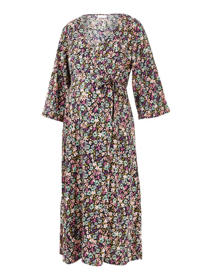 FLORAL VISCOSE MATERNITY MIDI DRESS, Black, large