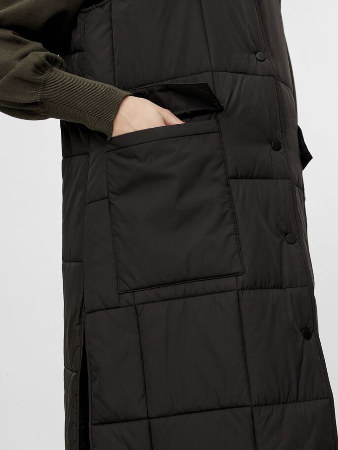 PCMBARBARA QUILTED MATERNITY VEST, Black, large