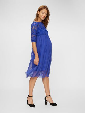 LACE SLEEVE MESH MATERNITY DRESS