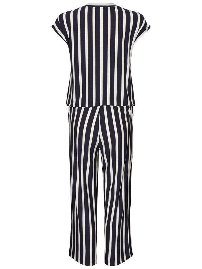 STRIPED JERSEY MATERNITY JUMPSUIT, Navy Blazer, large