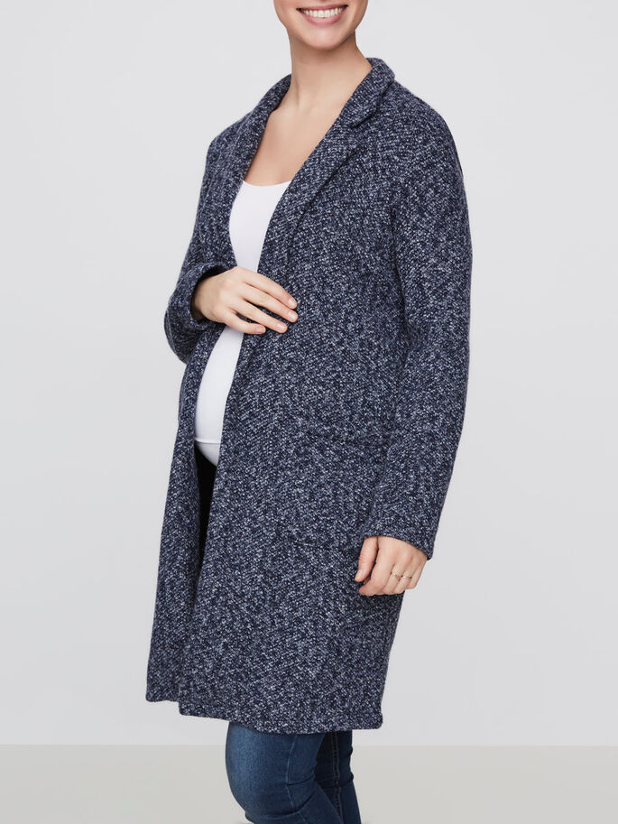 WOVEN SPRING MATERNITY CARDIGAN, Navy Blazer, large