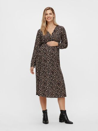 ABSTRACT PRINTED MATERNITY MIDI DRESS