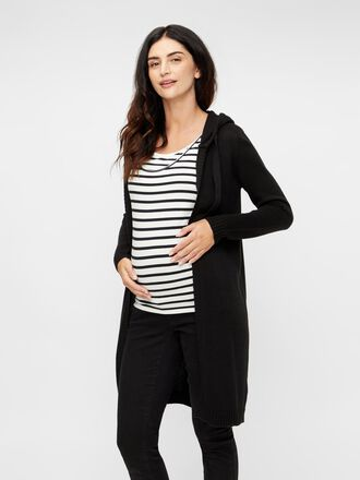 HOODED KNIT MATERNITY CARDIGAN