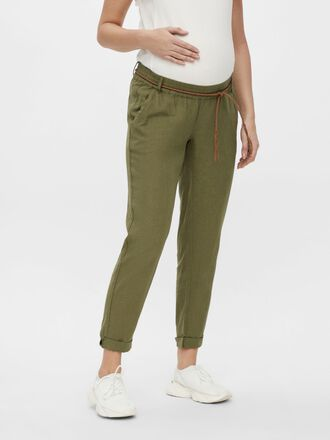 MLBEACH BRAID BELTED MATERNITY TROUSERS