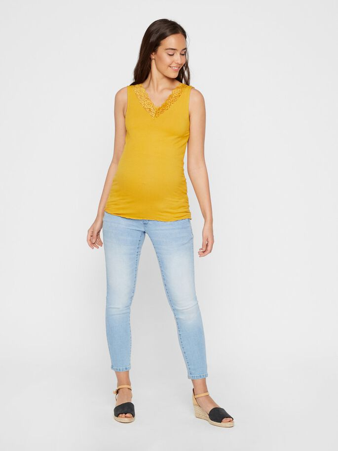 LACE NECKLINE MATERNITY TOP, Golden Spice, large