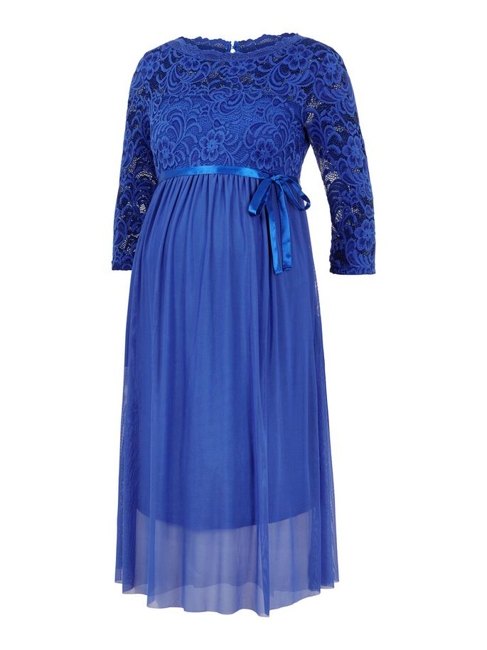 LACE SLEEVE MESH MATERNITY DRESS, Royal Blue, large