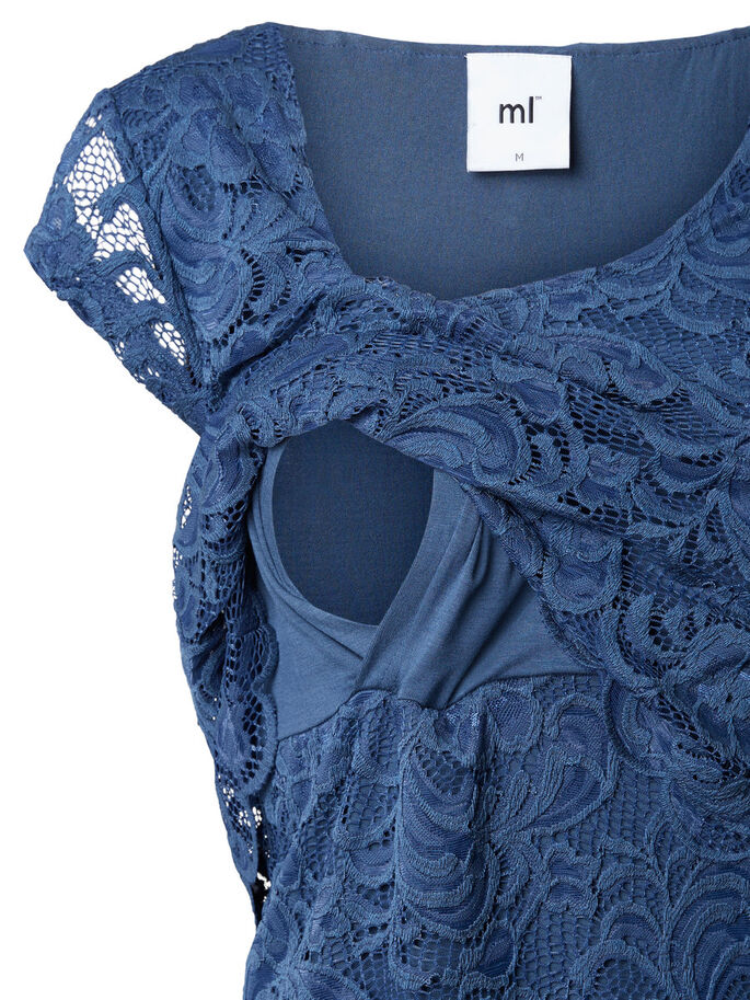 LACE NURSING TOP, SHORT SLEEVED, Dark Denim, large