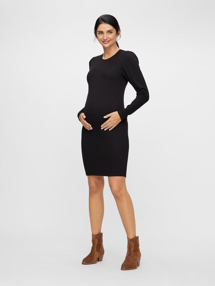 LONG SLEEVED RIB MATERNITY DRESS, Black, large