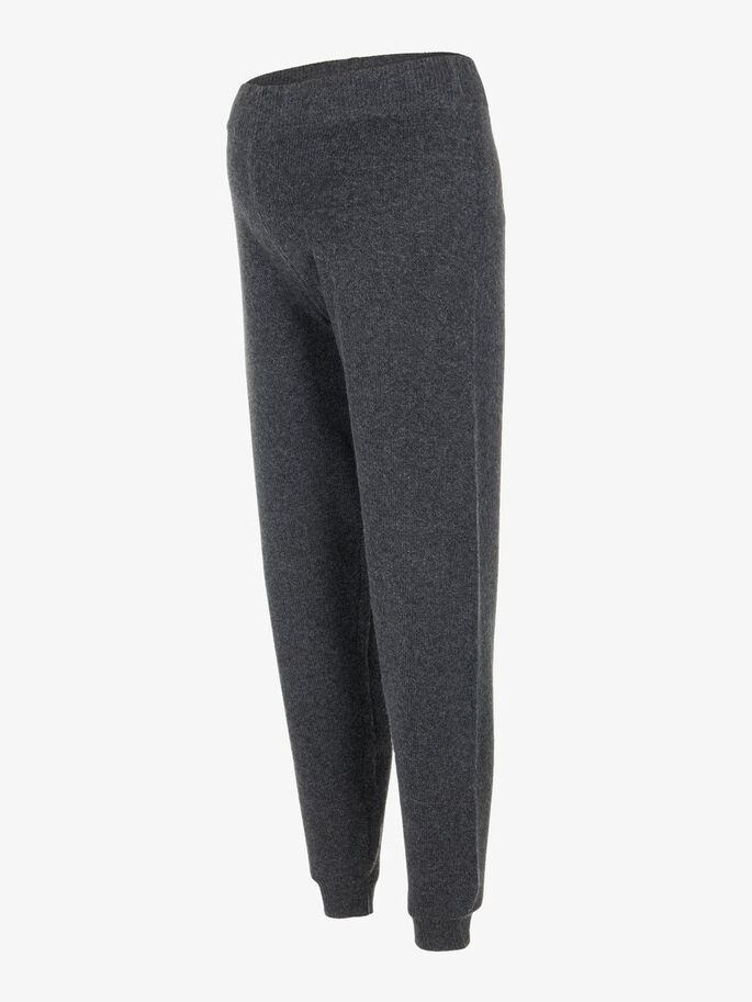 KNITTED LOOSE FIT MATERNITY TROUSERS, Dark Grey Melange, large