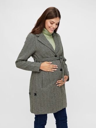 HERRINGBONE 2-IN-1 WOOL MATERNITY COAT