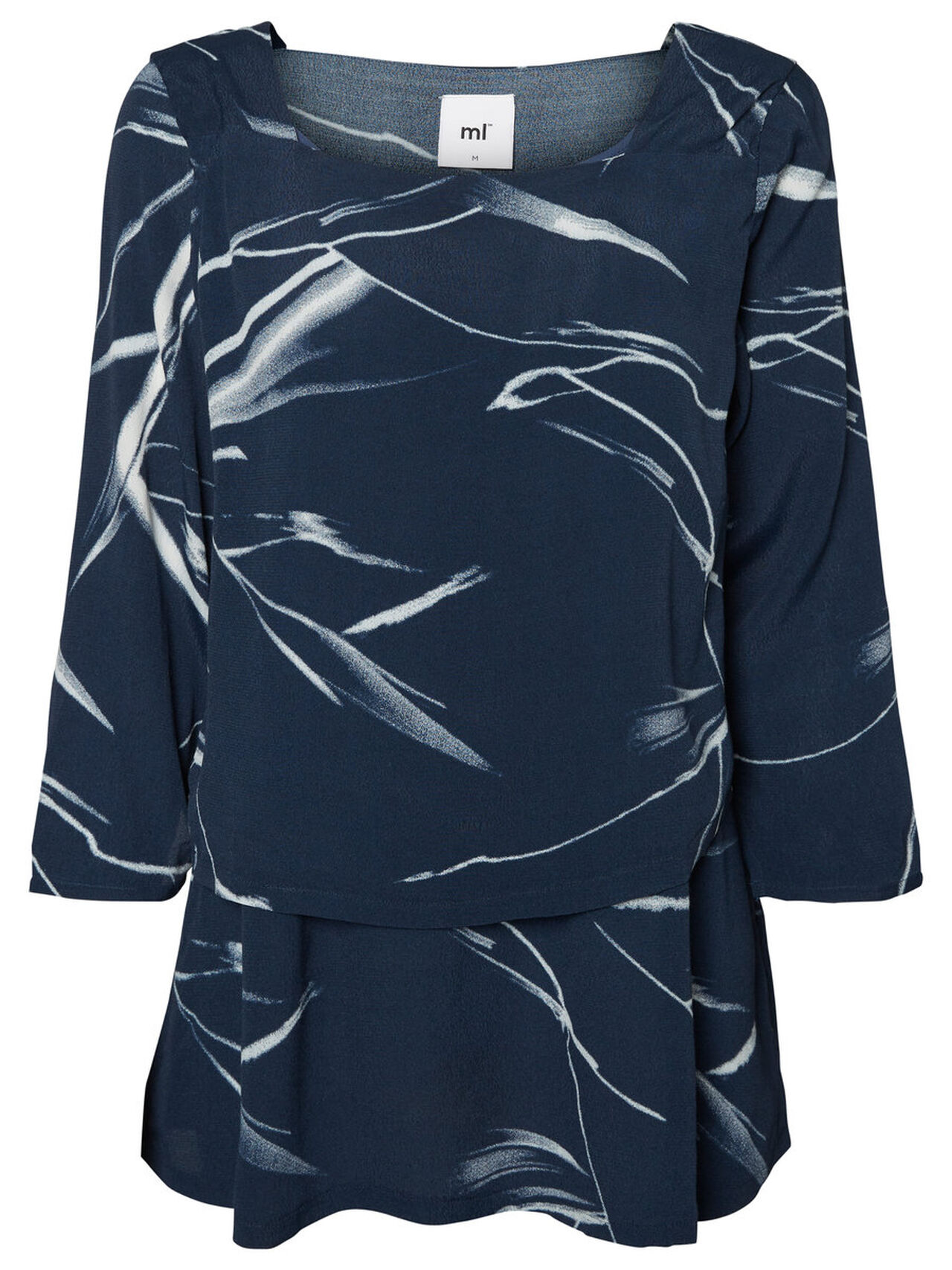MAMA.LICIOUS Printed Nursing Blouse, Short Sleeved Dames Blauw