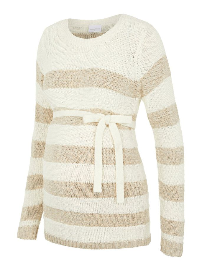 STRIPED KNITTED MATERNITY PULLOVER, Snow White, large