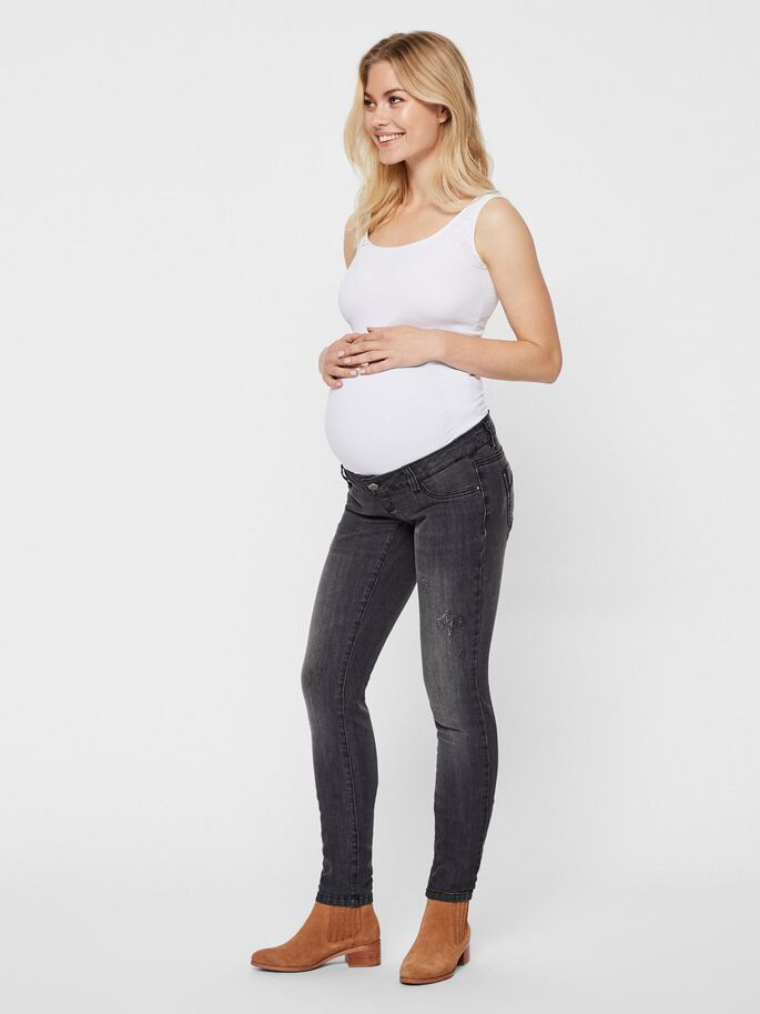 WASHED MATERNITY JEANS, Medium Grey Denim, large