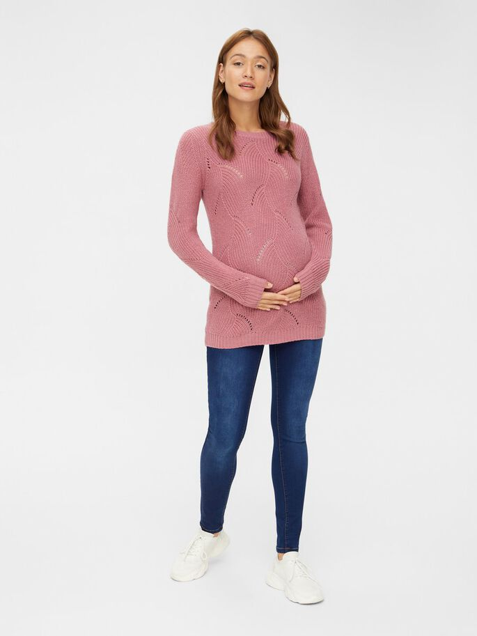 SOLID KNITTED MATERNITY PULLOVER, Nostalgia Rose, large