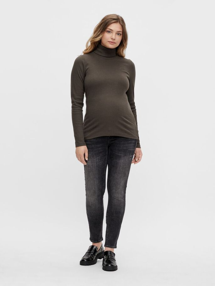 PCMANNA LONG SLEEVED MATERNITY TOP, Black Olive, large