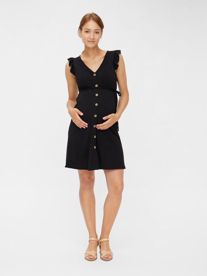 MANCHES RUCHÉES ROBE GROSSESSE, Black, large