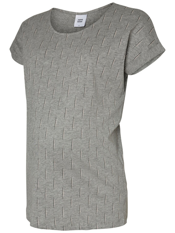 JERSEY MATERNITY TOP, SHORT SLEEVED, Light Grey Melange, large