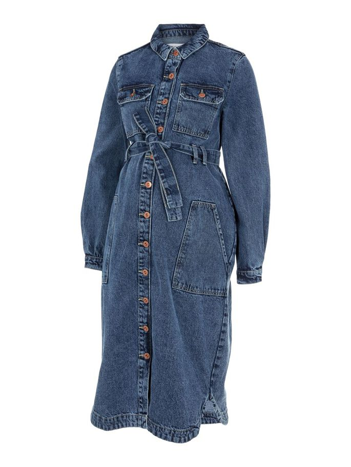 PCMGAMIR DENIM MATERNITY MIDI DRESS, Medium Blue Denim, large