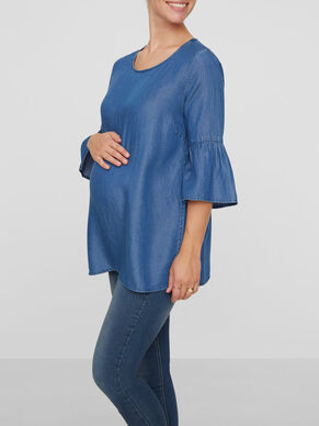 WOVEN MATERNITY TOP, 3/4 SLEEVED