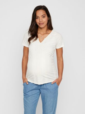 EMBROIDERY STRIPED MATERNITY T-SHIRT