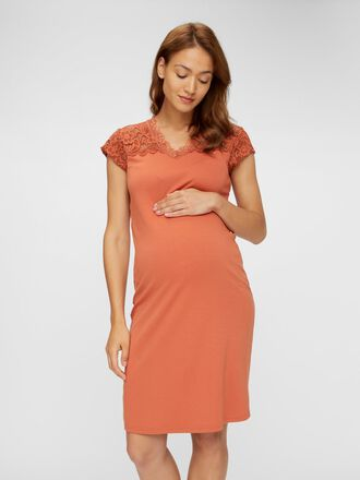 LACE CAP SLEEVED MATERNITY DRESS