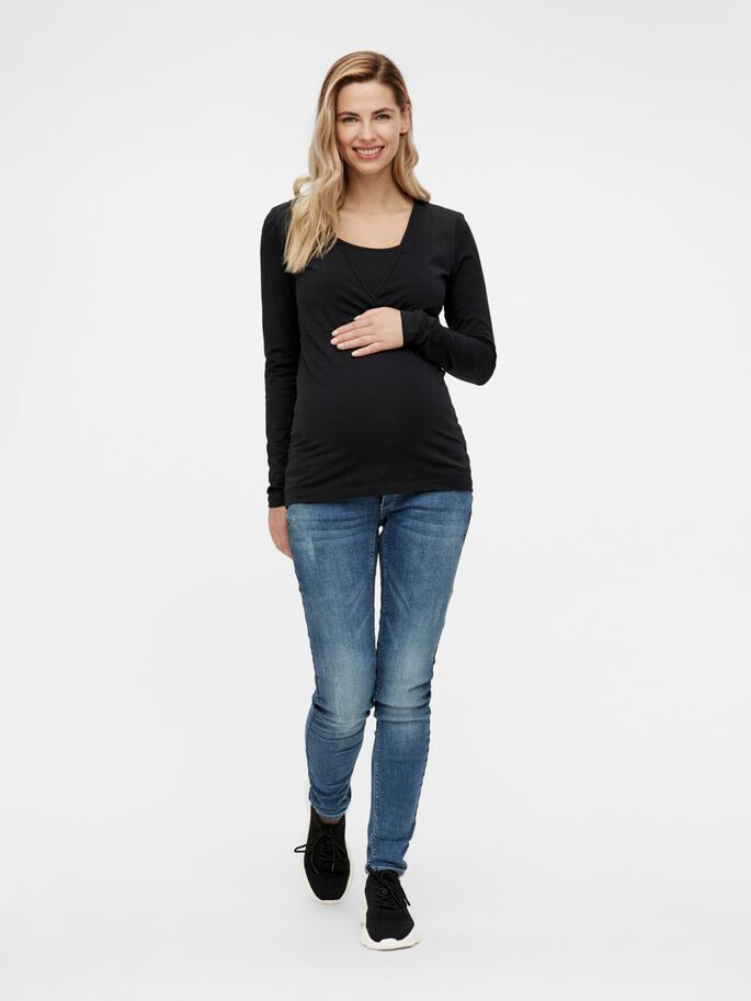 JERSEY NURSING TOP, Black, large