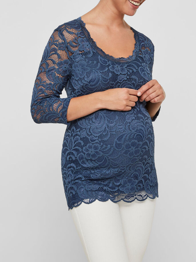 LACE MATERNITY TOP, Dark Denim, large