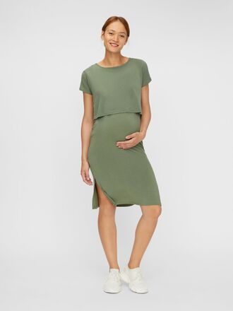 SLIT DETAILED 2-IN-1 MATERNITY MIDI DRESS