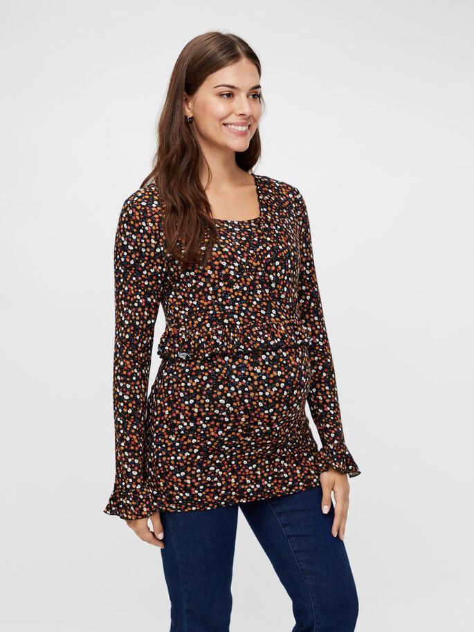 FLORAL PRINTED 2-IN-1 MATERNITY TOP, Black, large