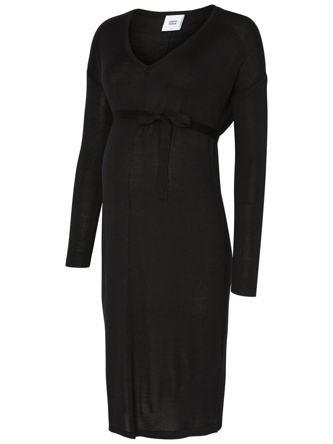 KNITTED MATERNITY DRESS, Black, large