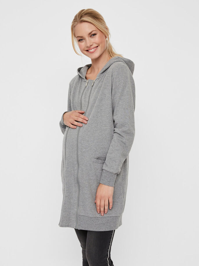 SWEAT MATERNITY CARDIGAN, Light Grey Melange, large