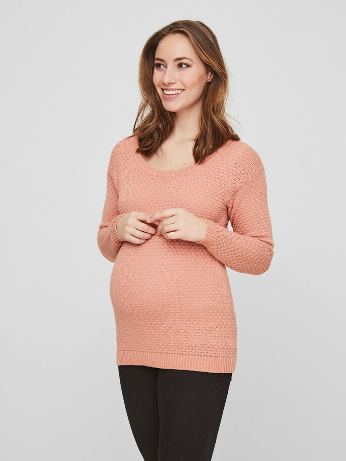 KNITTED MATERNITY PULLOVER, Coral Cloud, large