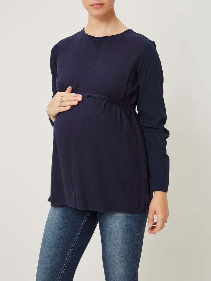 WOVEN MATERNITY TOP, Navy Blazer, large