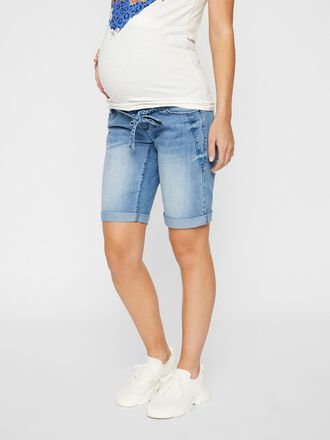 TIE-BELTED DENIM MATERNITY SHORTS