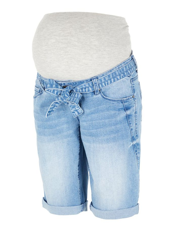JEAN, CEINTURE À NOUER SHORT GROSSESSE, Light Blue Denim, large