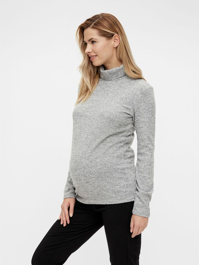 PCMPAM MATERNITY TOP, Light Grey Melange, large