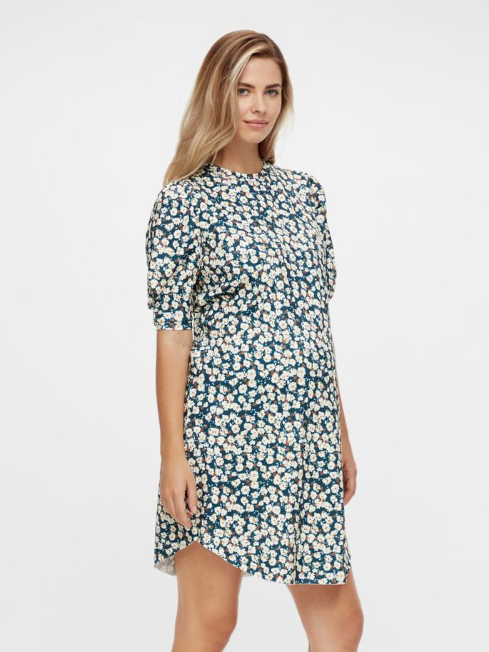 FLORAL PUFF SLEEVED MATERNITY DRESS, Frosty Green, large