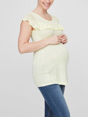 RUFFLE DETAILED MATERNITY TOP, SHORT SLEEVED