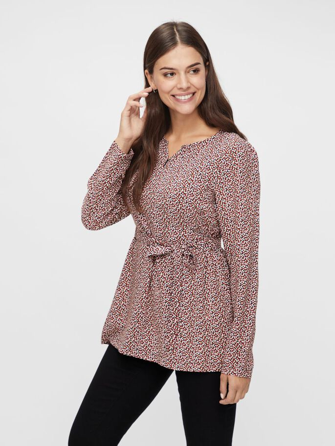PRINTED VISCOSE NURSING TOP, Carbon, large
