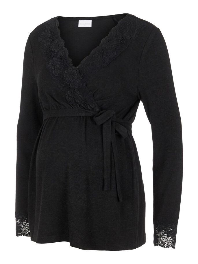 LACE DETAILED MATERNITY TOP, Black, large