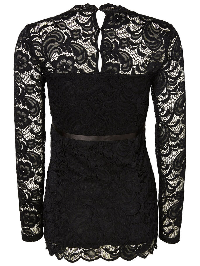 WOVEN MATERNITY TOP, Black, large